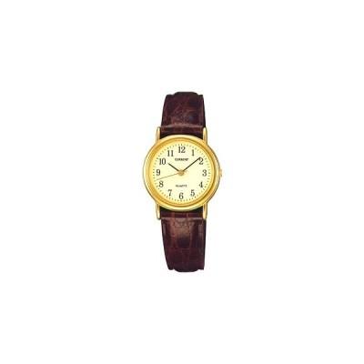 セイコー 腕時計 レディース アナログ 日常生活防水 シンプル 見やすい アラビア数字 文字盤 ブラウン 茶 レザー 合成皮革 革バンド ドレスウォッチ (SK8DC31)