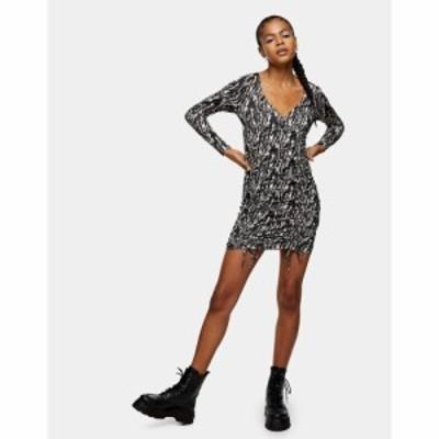 トップショップ Topshop レディース ワンピース ミニ丈 ワンピース・ドレス Animal Print Ruched Mini Dress In Multi マルチカラー
