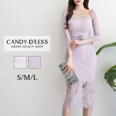 【予約】S/M/L 送料無料 Luxury Dress フラワーレース×デコルテオーガンジー七分袖タイトミディドレス(ベルト付) TR200506 膝丈 ワンピ