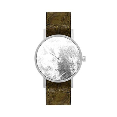 South Lane Stainless Steel Swiss-Quartz Watch with Leather Calfskin Strap, Black, 20 (Model: AW18-15) 並行輸入品