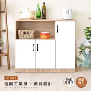 【Hopma】簡約三門廚房櫃/收納櫃-淺橡配白