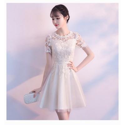 結婚式のスタイル 大きいサイズ シャンパンカラー ドレス フォーマル レース ミニドレス ドレッシー レディース 人気 かわいい 大人