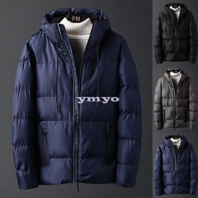 中綿コート メンズ 冬 アウター 厚手 中綿ジャケット ダウン風コート ショートコート パーカー フード付き 暖かい 防寒 大きいサイズ おしゃれ スリム 紳士 新品