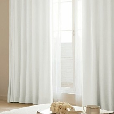 (窓美人) 遮光 裏地付き カーテン 「ナチュリー」 二重カーテン 2枚 + アジャスターフック + カーテンタッセル 保温 断熱 アイボリー 幅1