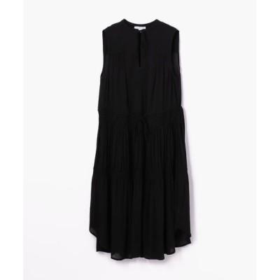 TOMORROWLAND/トゥモローランド レーヨンシフォン プリーツドレス WEB6411 19 ブラック 0(S)