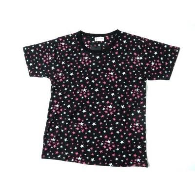未使用◎正規品 サンローランパリ 454208 レディース スタープリント 星柄 半袖 コットン100% Tシャツ カットソー ブラック×マルチ S 17SS