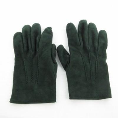 【中古】ANTONELLA FERRANTE アントネラ フェランテ 手袋 スエード レザー ダークグリーン 深緑 8 1/2 小物 メンズ