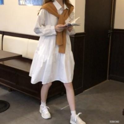 ワンピース レディース フランススタイル 白 レディース  ワンピース  ブラウス レトロ デザイン感 体型カバー 呼ばれ 韓国風 オシャレ