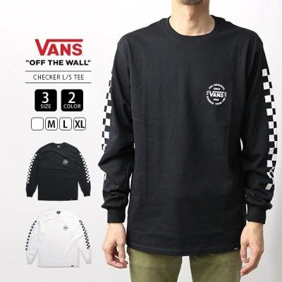 VANS ロンT 長袖Tシャツ メンズ ヴァンズ Tシャツ バンズ CHECKER L/S TEE VA19FW-MT03