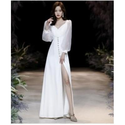 パーディードレス 袖あり Vネック ウエディングドレス aラインワンピ キャバドレス ロングドレス 20代 30代 40代 大きいサイズ 顔合わせ