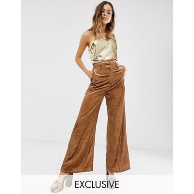 エボニー・アンド・アイボリー レディース カジュアルパンツ ボトムス Ebonie n Ivory wide leg pants in velvet sparkle