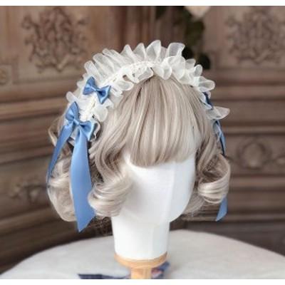 ロリータ 揺りかごの歌 ブルーヘッドドレス レース リボン 透け感 ヘッドドレス アクセサリー 甘ロリ メイド 姫ロリ