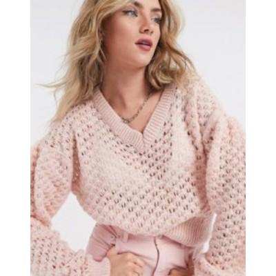 トップショップ レディース ニット・セーター アウター Topshop honeycomb sweater in light pink Pink