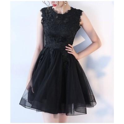結婚式 お呼ばれドレス ドレス ワンピース 黒 結婚式 お呼ばれ ドレス 大きいサイズ ひざ丈 フレア チュールスカート jm3196