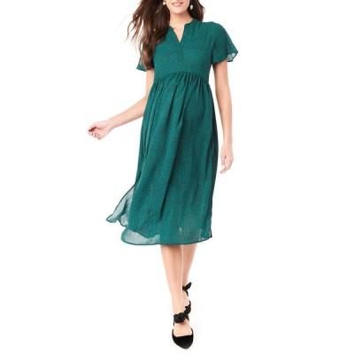 ロイヤル ハナ レディース ワンピース トップス Maternity Lily Printed Flutter-Sleeve Midi Dress