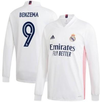 アディダス メンズ Tシャツ トップス Karim Benzema Real Madrid adidas 2020/21 Home Replica Long Sleeve Jersey White
