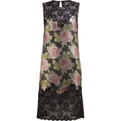 パコラバンヌ Paco Rabanne レディース パーティードレス ミニ丈 ワンピース・ドレス Lace and rose-print chainmail mini dress Black