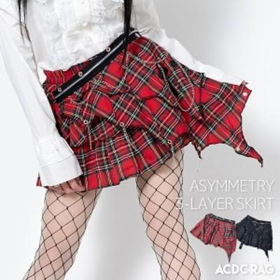 3マイアシメスカート パンク ロック ファッション V系 原宿 原宿系 スカート ミニスカート チェック タータンチェック 赤タータン ミニス