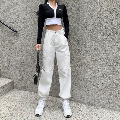 ボトムス ジッパーくり抜くカーゴパンツ ロゴ スポーティ ユニセックス ダンス 衣装 韓国 ファッション 大きいサイズ 個性的 服 原宿系