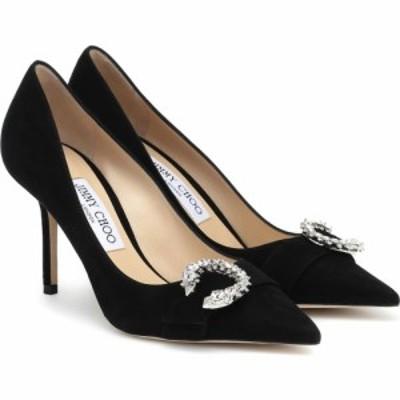ジミー チュウ Jimmy Choo レディース パンプス シューズ・靴 Saresa 85 embellished suede pumps Black