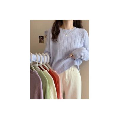 【送料無料】日系 セーターの女性 秋冬 オーバーサイズ ルース ティーヘッジ ミニ丈 | 346770_A63975-3648216