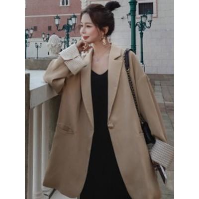 ジャケット アウター スーツ オーバーサイズ ゆったり テーラード レディース 安い 可愛い シンプル ロング ミディ丈 袖 折り返し