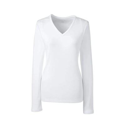 Lands' End Women's Plus Size All Cotton Long Sleeve T-Shirt Rib Knit V