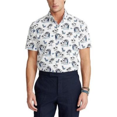 ラルフローレン メンズ シャツ トップス Big & Tall Tropical Oxford Short-Sleeve Woven Shirt Coconut Flamingo