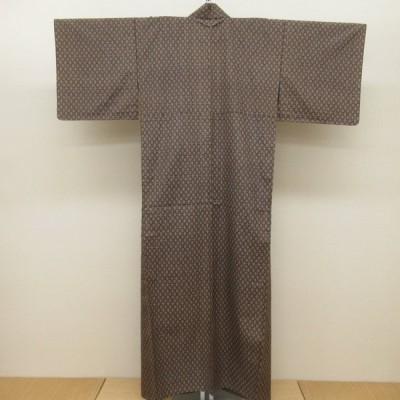 紬 茶系 単衣 身丈(肩から)約4尺1寸3分(157cm) バチ衿 着付練習 カジュアル 普段使い 美品 キモノオフ