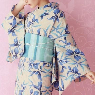 レディース 浴衣 女性用 ゆかた 未仕立て 反物 キナリ 仕立ても同時ご購入であなたにジャストサイズにお仕立てします 送料無料 yu8052