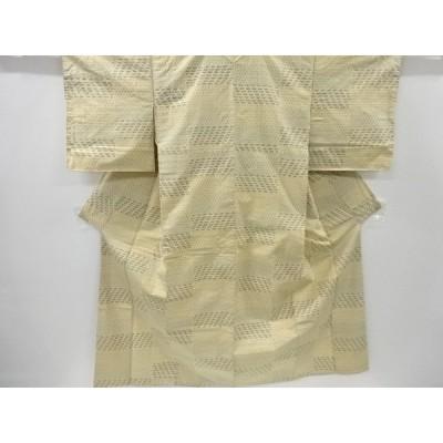 宗sou 横段に十字絣柄織り出し手織り節紬着物【リサイクル】【着】