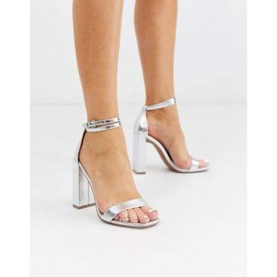 エイソス レディース ヒール シューズ ASOS DESIGN Notice barely there heeled sandals in silver