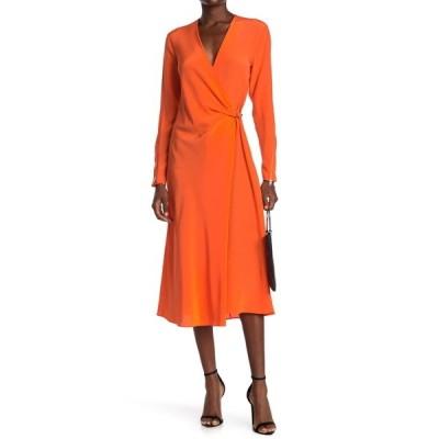 ラグアンドボーン レディース ワンピース トップス Odette Long Sleeve Silk Midi Dress BRGHTORNGE