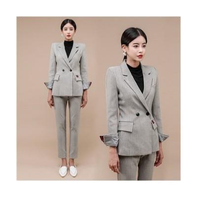 パンツスーツ 2点セット ビジネススーツ ビジネス レディース スーツ パンツスタイル パンツ ロングパンツ タイト 韓国 風 2ピース インポート きれいめ 着痩…