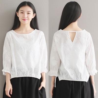 刺繍ブラウス ホワイト シンプル 七分袖 新作 カットソー ブラウス 大きいサイズ 袖口フレア 期間限定 ポイント消化
