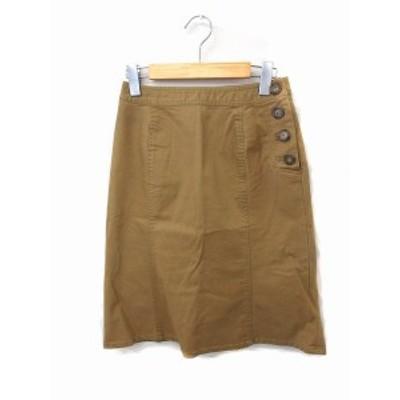 【中古】ロペピクニック ROPE Picnic スカート フレア ボタン 無地 シンプル ひざ下 コットン 綿 36 ブラウン 茶 /FT19