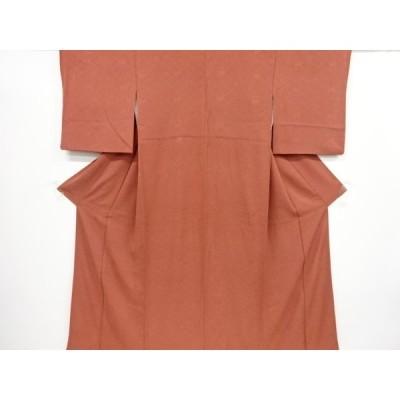 リサイクル 松皮菱に楓模様織り出し色無地着物