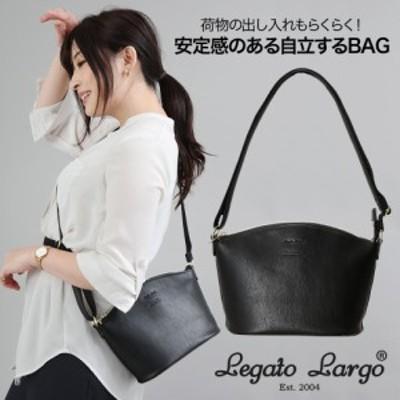 荷物の出し入れもらくらく自立するバッグ。 Legato Largo レガートラルゴ スタンダード フェイクレザー ショルダーバッグ ブラック A5サ