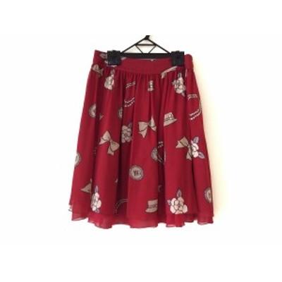 エムズグレイシー M'S GRACY ロングスカート サイズ38 M レディース 美品 レッド×アイボリー×マルチ 花柄/リボン【中古】20200624