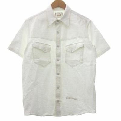 【中古】GANGSTERVILLE 19SS キングスランドショートスリーブシャツ 半袖 胸ポケット M 白 ホワイト R041612 メンズ