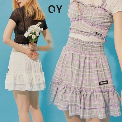 [CRANK] SMOKING FRILL SKIRT クランク 夏 フリル スカート レディース メンズ 韓国ファッション