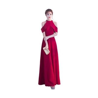 ルリジューズ Religeuses ホルター ネック 総 レース フレアー ロング ワンピース ドレス (赤・M Free Size)
