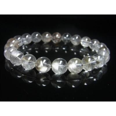 現品一点物 プラチナルチル ブレスレット 白金水晶 数珠 9−10ミリ 28g Pr60 クォーツ ルチル メンズ レディース 1点物 プレゼント 贈り物