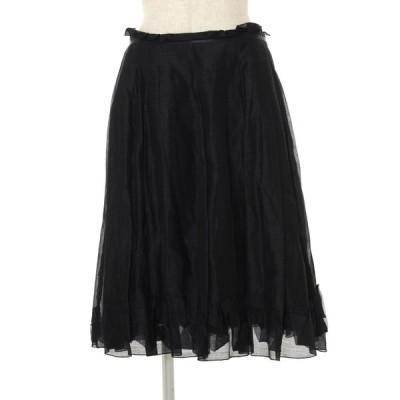 フォクシーブティック スカート 19624 リネン混 プリーツ 40