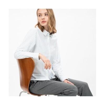 LACOSTE/ラコステ 吸水速乾ストライプボタンシャツ ブルー 38(L)