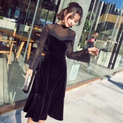 パーティードレス ベロア 長袖 ミモレ 大きいサイズ 3l 黒 ドレス 結婚式 お呼ばれドレス  マーメイドワンピース シースルー ハイネック