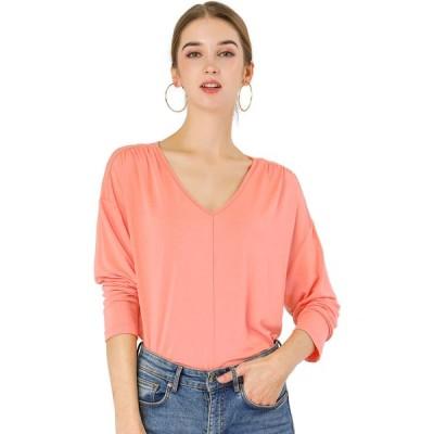 uxcell Allegra K Tシャツ トップス Vネック 長袖 ドルマンスリーブ ルーズ レディース ピンク XL