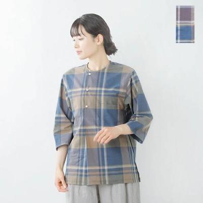 【クーポン対象】ironari イロナリ コットンシルクチェックヘンリーネックダボシャツ i-21405 2021ss新作