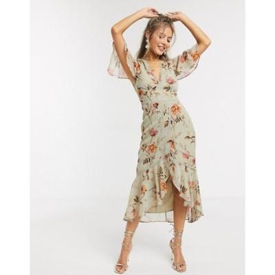 ホープ&アイビー レディース ワンピース トップス Hope & Ivy plunge midi tea dress in meadow floral