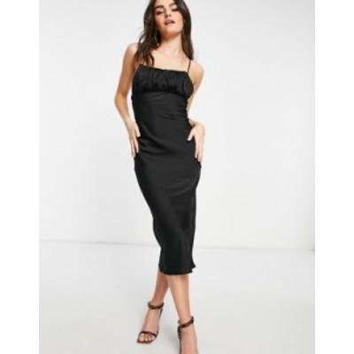 エイソス レディース ワンピース トップス ASOS DESIGN satin midi slip dress with ruched bust detail and lace up back Black